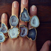 LUX DIVINE /// Large Geode Statement Ring /// Stackable Gemstone Gold Electroformed Ring