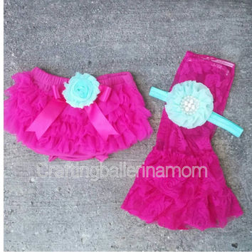 Hot Pink & Aqua Bloomer Set - Pink and Aqua,  First Birthday Outfit - Cake Smash - Aqua bloomers - Newborn Bloomers, Pink, Baby Girl, Teal