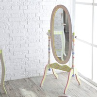 Fantasy Fields - Crackled Rose Thematic Kids Wooden Standing Mirror for Girls   Imagination Inspiring Hand Crafted & Hand Painted Details   Non-Toxic, Lead Free Water-based Paint