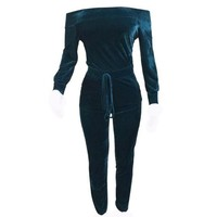 Off Shoulder Sexy Rompers For Women Elegant Velvet Jumpsuit Long Sleeve Slim Women Pompers Sexy One Piece Outfits#1521