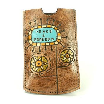 Iphone Leather Cover with personalized custom text by rntn on Etsy