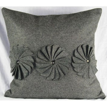 Design Accents SL 30928A - Pinwheels GREY Grey Felt Pinwheels 20 x 20 Decorative Pillow