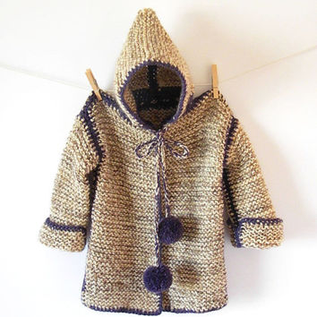 Girls Knit Hooded Cardigan  /  Wool Shrug  In Beige, Purple / 4, 5, 6 Years Old / Alpaca Cape / Kids Clothes / Ready To Ship