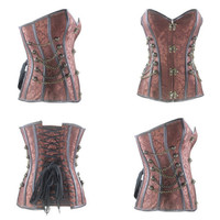 UK LADY Steel Boned Basques Retro Gothic Overbust Sexy Corset Brocade Steampunk