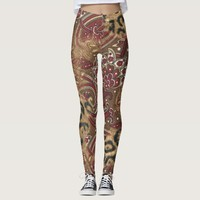 Leopard and Paisley Pattern Print Leggings