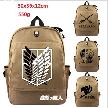 Cool Attack on Titan  Backpack For Teenagers Children School Bags Boys Grirs Tokyo Ghoul Fairy Tail Backpacks Daily Canvas Travel Bag AT_90_11
