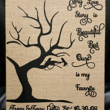 Burlap canvas art,  8x10 wedding canvas,  gift for bride,  wedding decoration,  bridal shower gift, every love story is beautiful print