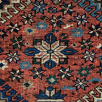 Oriental Yalamah Persian Wool Tribal Rug, Red/Dark Blue