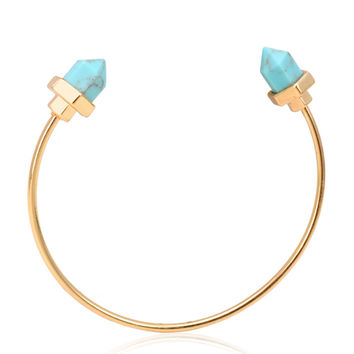 Gold Geometry Faceted Stone Open Bracelet