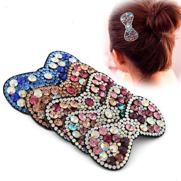 Korean Rhinestones Crystals Bows Top Hair Clips Synthetic Leather Barrettes Women Girls Hair Accessories Hairpins