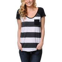 Zine Girls Charcoal Scoop Neck Stripe Tee Shirt