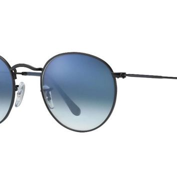 ray ban aviator rb3447 round sunglasses 006 3f black with blue gradient lens