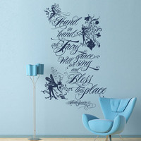 Vinyl Wall Decal Sticker Art - Fairy Grace- Shakespeare quote - Whimsical Mural