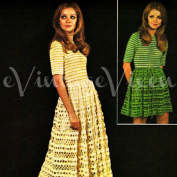 Boho Beauty Maxi or Mini Dress 60s Twilleys Vintage Crochet Pattern Goldfingering bohemian clothing festival fun party holiday Vintage Beso