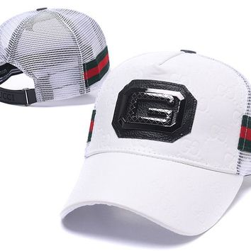 White Gucci Nylon Baseball Cap Unisex Hat