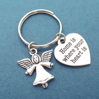 Guardian, Angel, Home is where the heart is, Home, Keychain, Keyring, Key chain, Sweet, Home, Angel, Gift, Family, Jewelry, Accessories