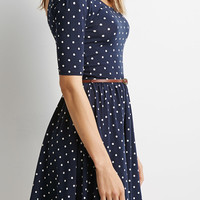Navy Blue Dotted Sleeve Dress With Belt