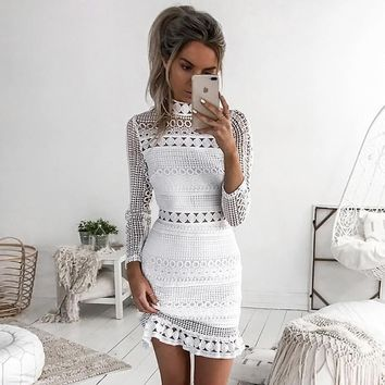 Sibybo Sexy Club Dress 2017 White Embroidery Floral Celebrity Zippers Dress Long Sleeve Slim Hollow Lace Dress