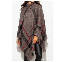 """Always My Style"" HUGE Cowl Neck Charcoal Plaid Poncho"
