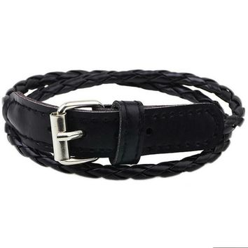 Rustic Braided Leather Belt Buckle Bracelet
