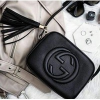 Gucci Fashion Ladies Small Bag Shaopping Pure Color Tassel Leather Shoulder Bag Crossbody Satchel