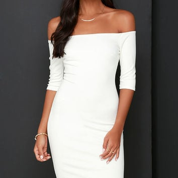 Girl Can't Help It Ivory Off-the-Shoulder Midi Dress