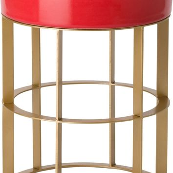 Large Milo Metal Stool/Table Powdercoated Gold With A Coral Ceramic Top
