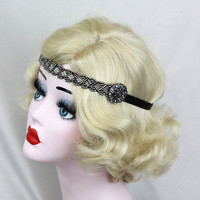 Gunmetal Gray Headband - Pewter Hair Accessory - Victorian Headband - Marcasite Headpiece - Great Gatsby Prom - Goth Wedding