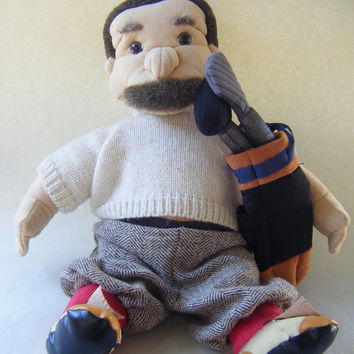 Vintage Golfer Man Hand Puppet Folkmanis Plush Toy Children Play Show Stuffed Dad Father Mustache Kids Parenting Playtime
