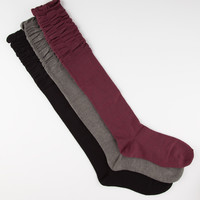FULL TILT 3 Pack Scrunch Top Knee High Socks | Socks