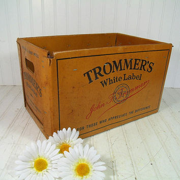 Vintage Large Waxed CardBoard Trommer's White Label Beer Crate - Heavy Duty Rustic Industrial Advertising Box - Mid Century Breweriana Case