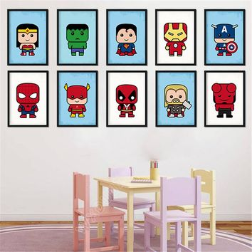 WXDUUZ Superman Spider-Man Superhero Posters Prints Wall Art Canvas Painting Decorative Picture Nordic Style Decoration A136