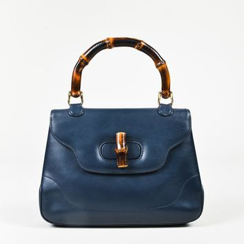 VINTAGE Gucci Blue Leather Bamboo Handle Satchel Bag
