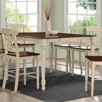 7 pc Dylan collection buttermilk and oak finish wood counter dining table set