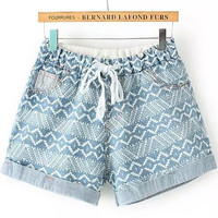 Pale Blue Drawstring Geometric Print Cuffed Denim Shorts