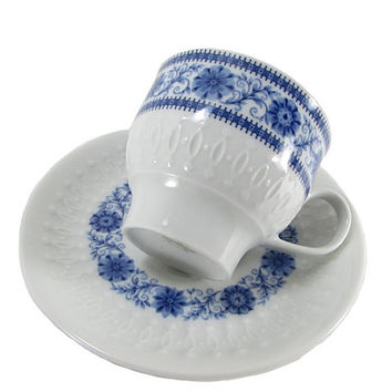 Mitterteich Porcelain Emossed Bavaria Tea Cup & Saucer Set Cobalt Blue White Marked