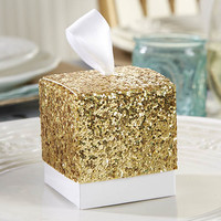 """All the Glitters"" Gold Glitter Wedding Favor Boxes"