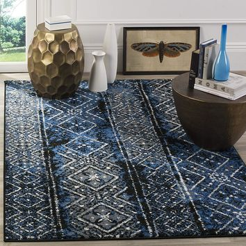 9948 Blue-Black Modern Distressed Contemporary Area Rugs