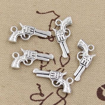 ESBONHS 99Cents 12pcs Charms pistol gun 22*12mm Antique Making pendant fit,Vintage Tibetan Silver,DIY bracelet necklace