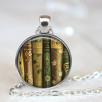 Library Book Pendant, Book Necklace, Book Pendant, Book Jewelry, Gift for Teacher, Gift for Book Lover, Teacher Gift