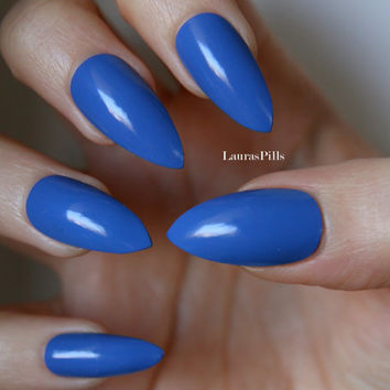Blue dream! Set of false stilettos nails!