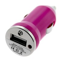 GTMax Mini USB Car Charger Vehicle Power Adapter - Hot Pink for Apple iPhone 4 4G 16GB / 32GB 4th G
