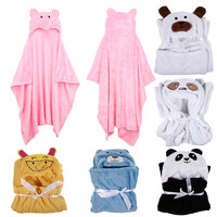 6 Cute Animal Flannel Cartoon Baby Kid's Hooded Bath Towel Toddler Blankets