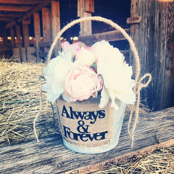 Rustic Wedding Flower Basket Flower Girl Basket Country Wedding Flower Basket