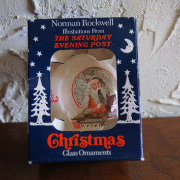 Vintage 1989 Norman Rockwell Glass Christmas Tree Ornament Titled SEASONS GREETINGS By Curtis Publishing In Original Box