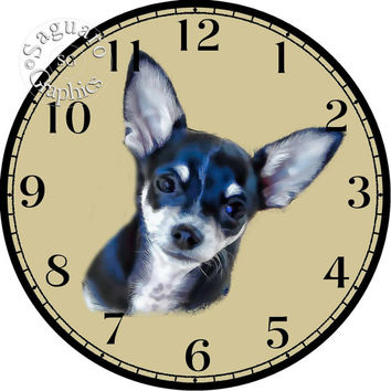 """Black and White Chihuahua Simplify Drawings Art -DIY Digital Collage - 12.5"""" DIA for 12"""" Clock Face Art - Crafts Projects"""