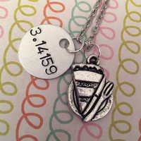 Pi - 3.14159 Necklace - Math Jewelry - Math Geek Jewelry - Nerd Jewelry - Handstamped Jewelry