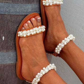 "Bridal sandals, White Beach Wedding Sandals,"" shining bride"" Pearl sandals, Greek Sandal,  Genuine leather shoes, Summer shoes"