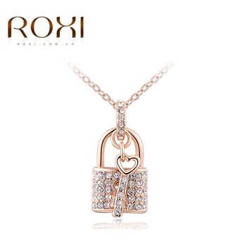 New ROXI White/Rose Gold Color Necklaces Locking & Key Pendants Unique CZ Fashion Jewelry Gifts Necklace For Women Girlfrend
