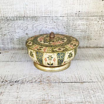 Vintage Tin Crown Derby Metal Tin Made In England Floral Tin with Lid Vintage Storage Box Bohemian Home Decor Trinket Box Jewelry Box